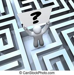 失われた, 迷路, 質問, 印, 人, 保有物, 迷路, 印