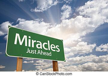 奇跡, 雲, に対して, 印, 緑, 道