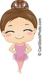女の子のダンサー, 舞踏会場, イラスト, 子供