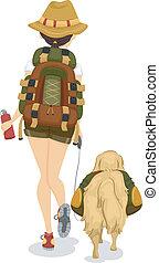 女の子, ∥あるいは∥, 犬, ハイキング, 移住