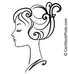 女の子, イラスト, 顔, ベクトル, 美しい
