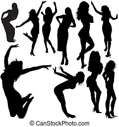 女の子, シルエット, ダンス