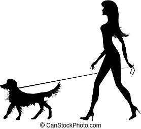 女の子, シルエット, 犬