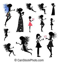 女の子, セット, 妖精