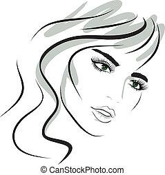女の子, デザイン, face., 美しさ, elements.