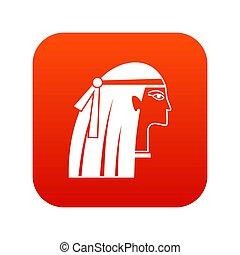 女の子, デジタル, エジプト人, 赤, アイコン