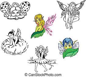 女の子, ベクトル, セット, fairies.