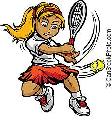 女の子, ボール, ラケット, 振動, プレーヤー, テニス, 子供