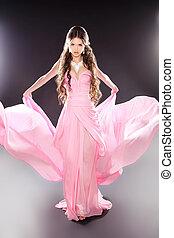 女の子, ポーズを取る, ファッション, 美しさ, 吹く, モデル, 透明, シフォン
