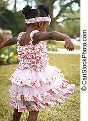 女の子, レース, 花, 無作法, ピンクのドレス