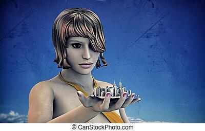 女の子, 保有物, 彼女, 都市, 手