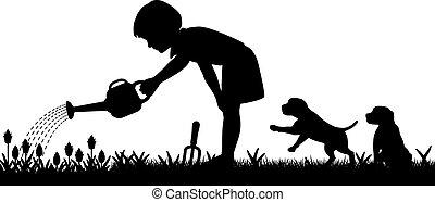 女の子, 園芸