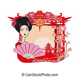 女の子, 抽象的な風景, アジア人