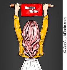 女の子, 旗, 赤, 手掛かり, 大きい, 鉛筆