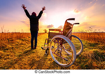 女の子, 昇給, の上, 車椅子, 奇跡, 得る, recovery:, 手, 若い