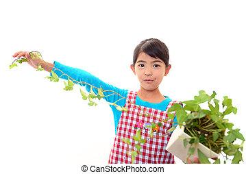 女の子, 植物, 保有物, 彼女, 手
