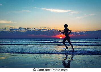 女の子, 海岸, runing, 前方へ, 海
