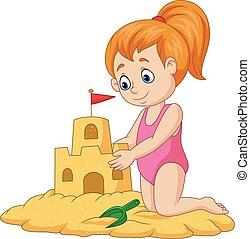 女の子, 砂, 作成, 城, 漫画, 幸せ