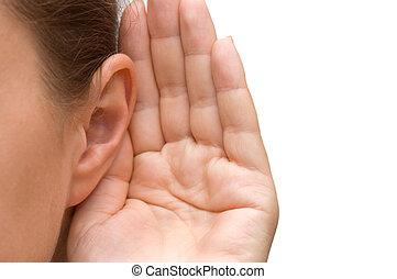 女の子, 耳, 聞くこと, 彼女, 手