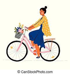 女の子, 花, 自転車