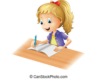 女の子, 若い, 執筆