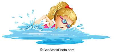 女の子, 若い, 水泳