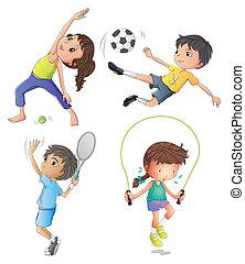 女の子, 若い, 2人の司厨員, 遊び, 運動