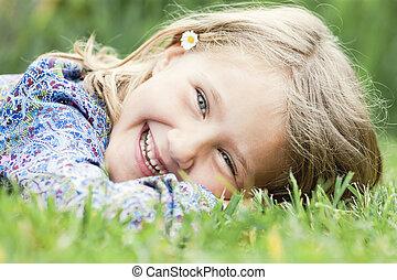 女の子, 草, 笑い, あること