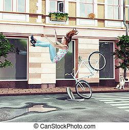 女の子, 落ちる, 自転車, 彼女, 離れて