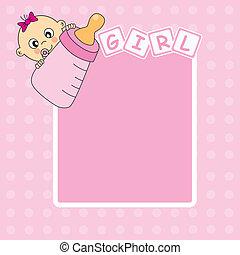 女の子, 赤ん坊, 発表, カード, 到着