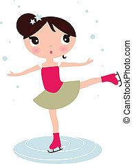 女の子, 隔離された, クリスマス, アイススケート, 白