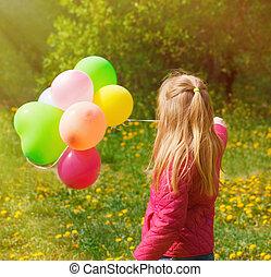 女の子, 風船, わずかしか, 回された, 背中