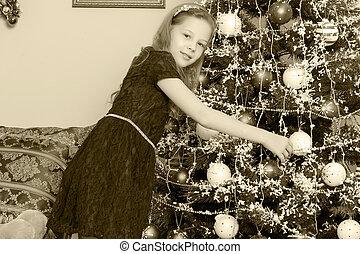 女の子, 飾り付ける, クリスマス, 木。