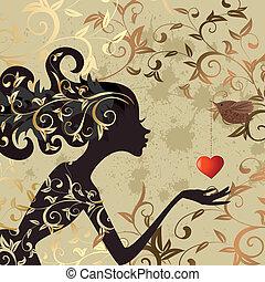 女の子, 鳥, バレンタイン