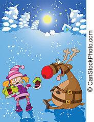 女の子, 鹿, クリスマス, 夜