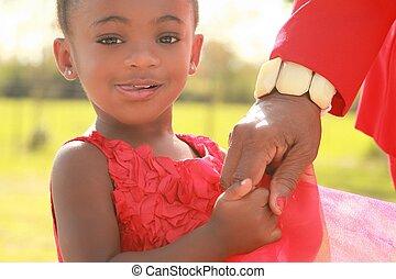 女の子, 黒, 保有物, 彼女, おばあさん