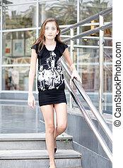 女の子, dress., 黒, 若い