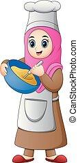 女の子, muslim, 料理, 幸せ