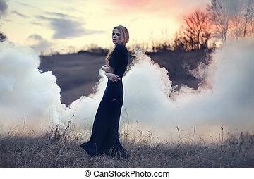女の子, sensual, 煙, 自然, 美しい
