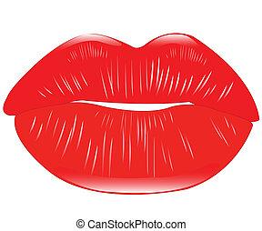 女らしい, 唇, 赤