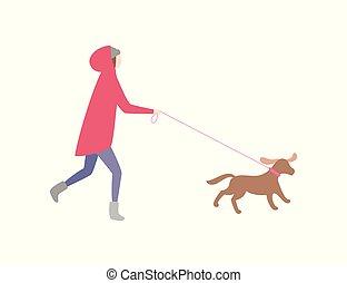 女性が走る, ペット, 犬, 革ひも, 所有者