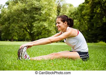 女性の伸張, -, アウトドアのスポーツ, 練習