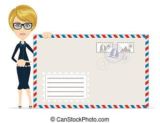 女性の指すこと, 封筒, スーツ, letter., 形式的