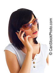 女性の話すこと, モビール, 若い, の上, 電話, 終わり