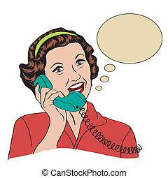 女性の話すこと, 電話, popart, レトロ, 漫画