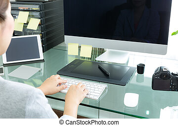 女性ビジネス, タイプ, 手, コンピュータ, クローズアップ, キーボード