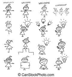女性ビジネス, 図画, 概念, 手, 漫画, 幸せ