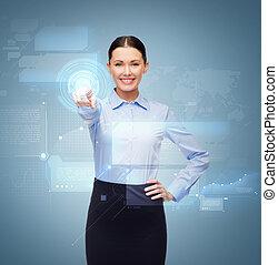 女性実業家, ボタン, とんびが指さす, 微笑