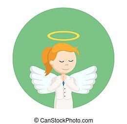 女性実業家, 円, 祈ること, 背景, 天使