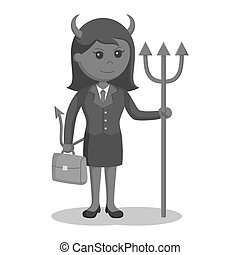 女性実業家, 悪魔, ブリーフケース
